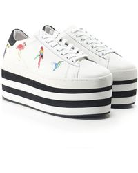 MOA - Striped Platform Tropical Embroidered Trainers - Lyst