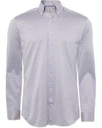 Hackett | Slim Fit Knitted Herringbone Shirt | Lyst