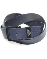 Armani - Textured Leather Belt - Lyst