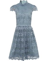 Alice + Olivia - Maureen High Neck Lace Dress - Lyst