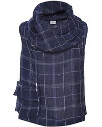 Crea Concept - Linen Blend Checked Cowl Neck Vest Top - Lyst