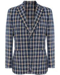 L.B.M. 1911 - Linen Blend Textured Check Jacket - Lyst