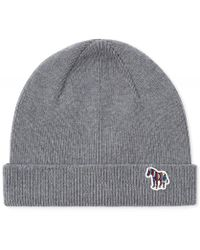 aeab17ef7b4d6 Paul Smith Ribbed-knit Lambswool Beanie Hat in Gray for Men - Lyst