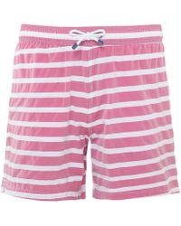 Hackett - Stretch Fit Barre Stripe Volley Swim Shorts - Lyst