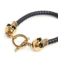 Alexander McQueen - Gold Skulls Bracelet - Lyst