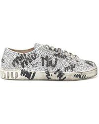 Miu Miu - All Over Logo Sneakers - Lyst