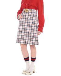Gucci - Embellished Metallic Tweed Skirt - Lyst 113613a008