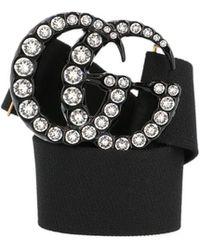 b5da22c503b Gucci - Strass Logo Buckle Belt - Lyst