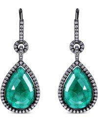 Nina Runsdorf - Teardrop Emerald Earrings - Lyst