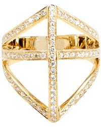 Campbell | Diamond Shield Ring | Lyst