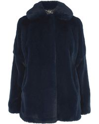 Karen Millen - Faux Fur Coat - Blue - Lyst