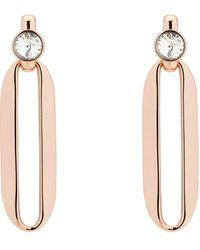 Karen Millen - Crystal Ellipse Drop Earrings - Lyst