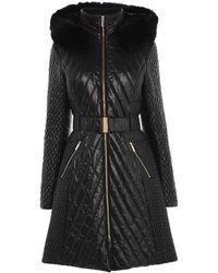 Karen Millen - Faux Fur-trim Quilted Coat - Lyst