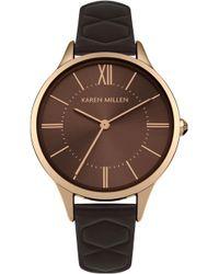 Karen Millen - Quilted Leather Strap Watch - Lyst