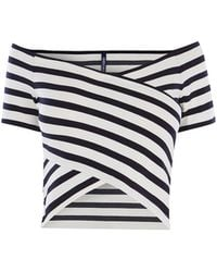 Karen Millen - Striped Bardot Top - Lyst