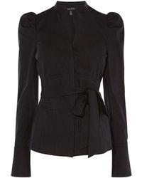7cf0e727 Karen Millen Sheer Spot Pussy-bow Blouse - Black in Black - Lyst