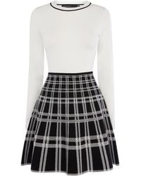 Karen Millen - Checked-skirt Dress - Lyst