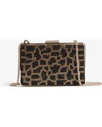 Karen Millen - Leopard Embellished Box Clutch - Lyst