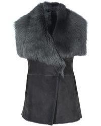 Karen Millen - Fur And Suede Gilet - Grey - Lyst