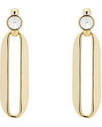 Karen Millen - Swarovski Crystal Rectangular Drop Earrings - Lyst