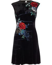 Karen Millen - Floral Velvet Mini Dress - Lyst