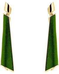 Karen Millen - Folded Pleat Drop Earrings - Lyst