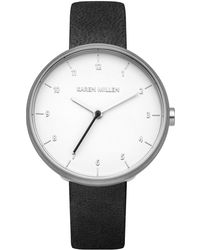 Karen Millen - Minimalistic Leather Watch - Black - Lyst