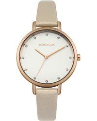 Karen Millen - Leather Strap Watch - Cream - Lyst