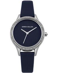 Karen Millen - Textured Leather Watch - Navy - Lyst