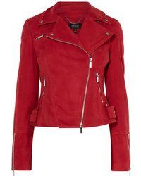 Karen Millen - Suede Biker Jacket - Lyst