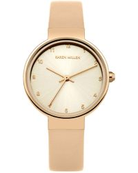 Karen Millen - Rose Gold-tone And Leather Wat - Taupe - Lyst