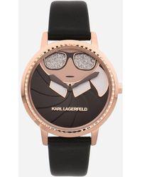 20b3fd0feb Lyst - Karl Lagerfeld Kl4016 Ladies Strap Watch in Black