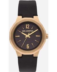 Karl Lagerfeld - Joleigh Gold Black Leather - Lyst