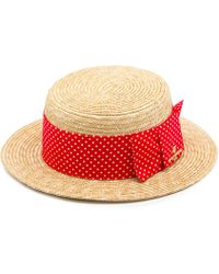 Karl Lagerfeld Boater With Large Polkadot Band
