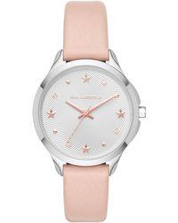 Karl Lagerfeld - Karoline Leather Strap Watch Pink - Lyst