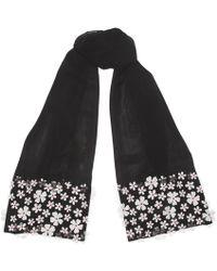 Karl Lagerfeld - Mesh 3d Floral Wrap Scarf - Lyst