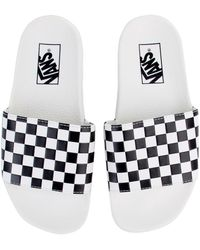 d1b4db3cfef Vans - The Women s Checkerboard Slide-on In White And Black - Lyst
