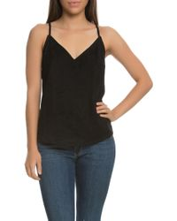 NANA JUDY - The Lola Faux Suede V Neck Cami Top With Cross Over Eyelet Back In Black - Lyst