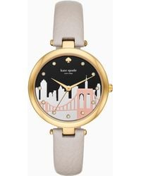 Kate Spade - Varick Gray Leather Strap Watch 36mm - Lyst