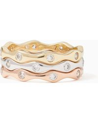 Kate Spade - Heavy Metals Wave Stackable Ring Set - Lyst