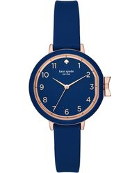 Kate Spade - Women's Park Row Navy Silicone Strap Watch 34mm - Lyst