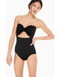 Kate Spade - Marina Piccola Cut Out Bandeau One-piece Swimsuit - Lyst