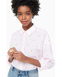 Kate Spade Micro Hearts Poplin Shirt - White