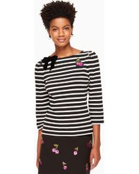 Kate Spade - Patch Embellished Stripe Top - Lyst