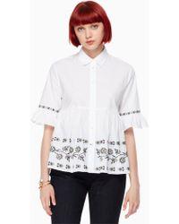 Kate Spade Embroidered Ruffle Sleeve Shirt - White