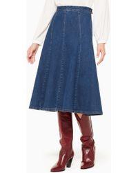 Kate Spade - Denim Midi Skirt - Lyst