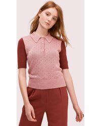 Kate Spade Textured Metallic Polo Sweater - Multicolor