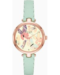 Kate Spade - Holland Butterfly Mint Leather Watch - Lyst