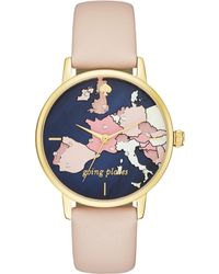 Kate Spade - Metro Going Places Vachetta Leather Watch - Lyst