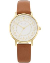 Kate Spade - Metro Scallop Brown Leather Watch - Lyst